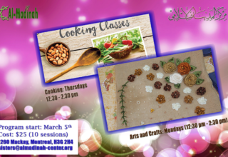Two new classes: cooking and Arts & Crafts